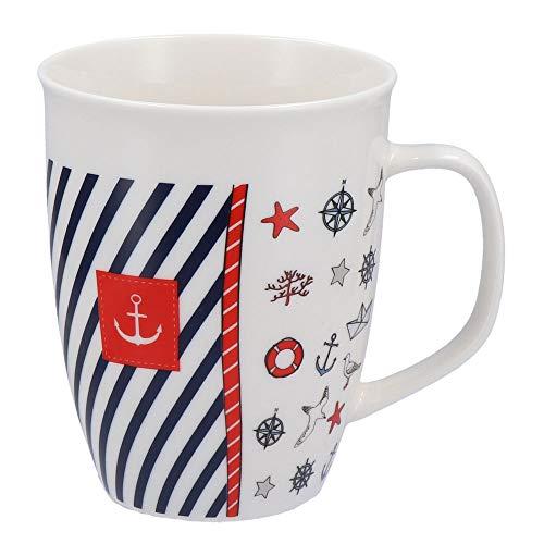 Tony Brown - Jumbo Kaffeetasse mit Henkel Maritim | 520ml | weiß | Porzellan | Maritimes Muster (Design 4)