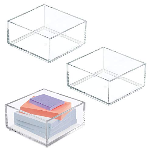 mDesign Plastic Stackable Drawer Organizer for Home Office, Desk Drawer, Shelf or Closet to Hold Staples, Highlighters, Adhesive Tape, Paper Clips, Stamps - 4 Square, 3 Pack - Clear
