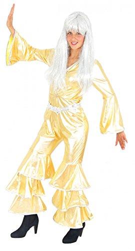 Foxxeo goldenes 70er Jahre Disco Kostüm für Damen Karneval Fasching Party Gold Overall Jumpsuit Größe M