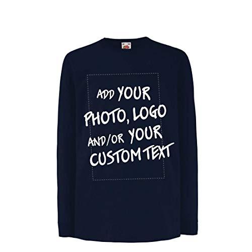 lepni.me Camiseta para Niño/Niña Regalo Personalizado, Agregar Logotipo de la Compañía, Diseño Propio o Foto (9-11 Years Azul Multicolor)