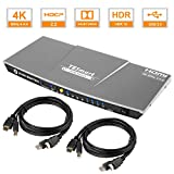 TESmart 4K@60Hz PC切り替え HDR 2.0 パソコン切替器  4ポートKVMスイッチ、 HDMI付き  4x1用の複数のポート Com-plete USB対応ケーブル  最大4台のコンピュータ、サーバ、DVRを制御  リモートコントロールディスプレイ(4ポート グレー)
