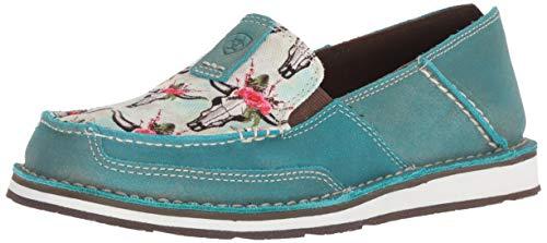 Ariat Women's Cruiser Slip-on Shoe Casual, Steer/Roses Print/Shimmer Turquoise, 7.5