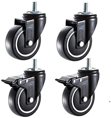 Pkfinrd Caster Wheels, Heavy Duty Casters Rotary PU lagerwielen met rem, universele 360 roteerbare karren Vervangende rollen Industrieel Transport Rollers Swivel Casters voor meubels en werkbank