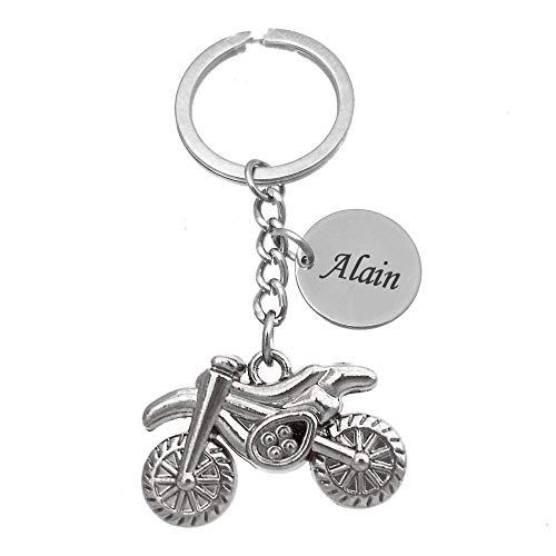Porte-clés Moto Cross Argentée Gravure Personnalisée sur Médaille Bijou Homme
