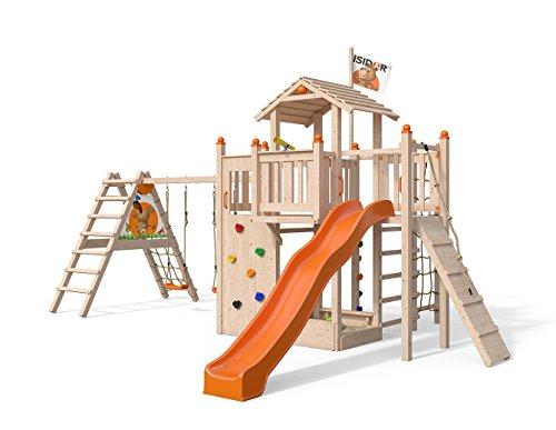 ISIDOR Funny FOO Spielturm mit erweitertem Schaukelanbau, XXL Rutsche, Kletternetz, Kletterwand, Kletterbalken UVM. (Orange)