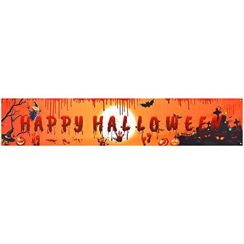CNNIK Happy Halloween Banner de Fondo Cartel Extra Grande Fiesta de Halloween Fotomatón Telón de Fondo Banner Decoración Suministros 250 x 49 cm