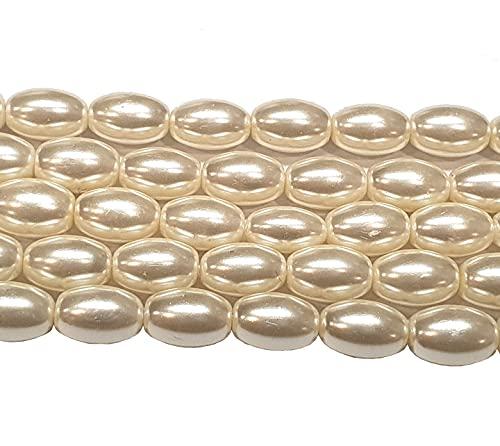 Perlin – Perline di vetro cerato di perle coltivate imitate perle di vetro cerato bianco AAA grado ovale 9 x 6 mm 45 pezzi perle con foro per infilare gioielli collana bracciale R160