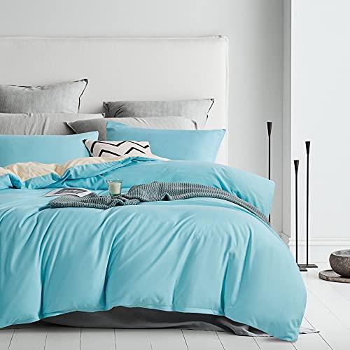 Damier Ropa de cama reversible de 220 x 240 cm, 3 piezas, microfibra, funda nórdica con cremallera y 2 fundas de almohada de 80 x 80 cm, color turquesa, verde y beige
