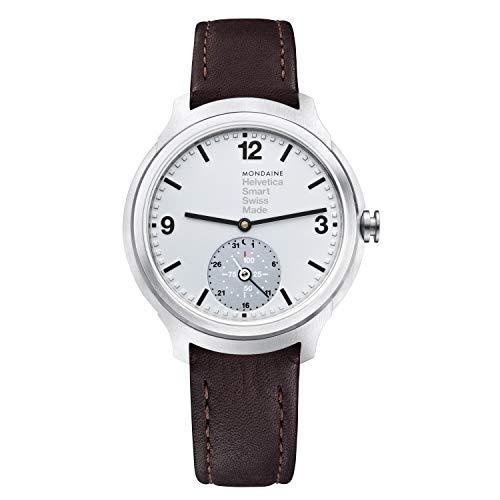 Mondaine Helvetica Smartwatch - Braune Lederuhr für Herren und Damen, MH1.B2S80.LG, 44 MM