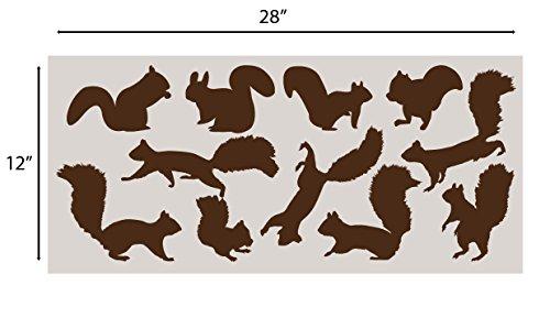 Innovative Schablonen Eichhörnchen Wandaufkleber Set Kinderzimmer Aufkleber Set Add to Tree Wall Decals Decor for Kids Rooms #1250 (12 Eichhörnchen-Aufkleber inklusive) Matte Brown
