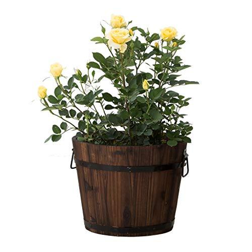 Fleurs artificielles Stand de fleurs pot de fleurs baril en bois plante pot de fleurs pot de fleurs en bois créatif vieux tas autour de baril balcon boîte à légumes Fleurs artificielles