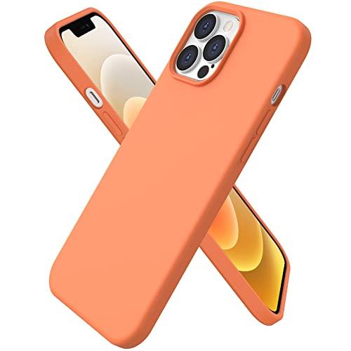 ORNARTO kompatibel mit iPhone 12 Pro Max 6,7 Silikon Hülle, Hülle Ultra Dünne Voller Schutz Flüssig Silikon Handyhülle Schutz für iPhone 12 Pro Max(2020) 6,7 Zoll Orannge
