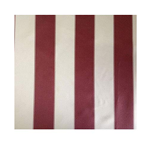 Mybecca Stripe Canvas Awning Fabric Waterproof Outdoor Fabric 60' Red/White, 1 Yard