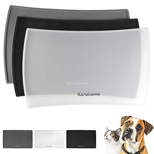 Napfunterlage aus Silikon 48x30cm (Transparent, Kurvig) I Für Katze & Hund I rutschfeste Futtermatte