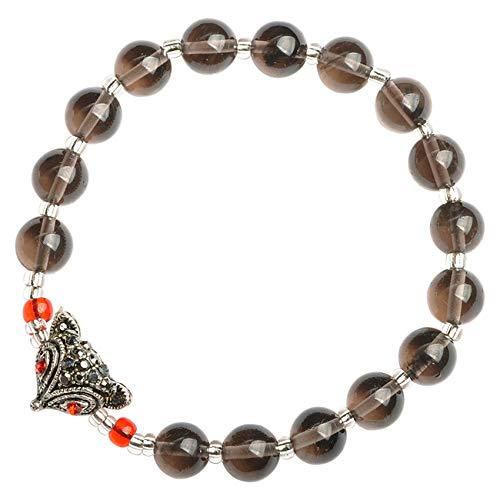 DFGHJH Feng Shui Good Luck Bracelets for Women Natural Tea Crystal Fox Fairy Diamond Crystal Universal Adjustable Wealth Peach Blossoms Safe Lucky Love