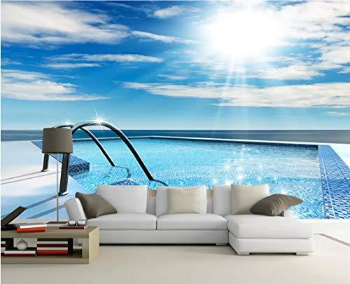 Fototapete 3D Privater Pool Wandbild Schlafzimmer Wohnzimmer Tv Hintergrund Wand Seidentuch Wandbild Anpassbare Größe 300(B) X210(H) Cm