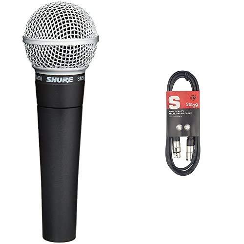 Shure Sm58-Lce Microfono Professionale Dinamico E Cardioide, Senza Cavo & Stagg XLRf to XLRm Plug Microphone Cavo, 3 m, Nero