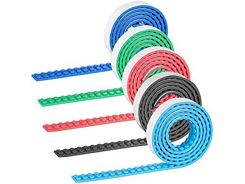 infactory Lego Band selbstklebend: 5er-Set Selbstklebende Spielbaustein-Tapes für gängige Systeme, je 1 m (Klebeband für Spielbausteine)