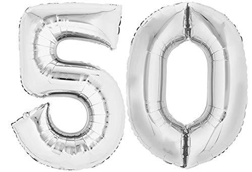 TopTen Folienballon Zahl 50 XL Silber ca. 70 cm hoch - Zahlenballon für Ihre Geburstagsparty, Jubiläum oder sonstige feierliche Anlässe (Zahl 50)