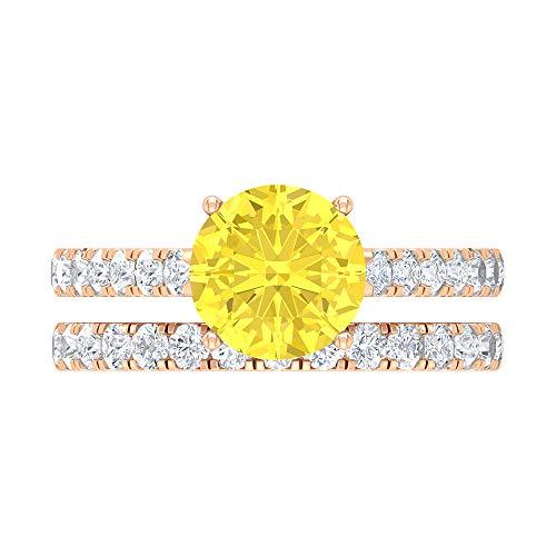 Conjunto de anillos de novia de Moissanite, 3 quilates de forma redonda D-VSSI claridad de color 8 mm, anillo de compromiso vintage solitario, 18K Oro rosa, Size:EU 54