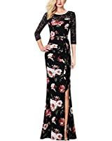 VFSHOW Womens Black Lace Mulit Floral Print Patchwork Ruched Ruffles High Split Dressy Casual Evening Party Maxi Long Dress 3725 BLK L