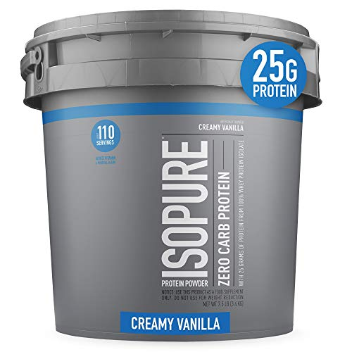 Isopure Zero Carb, Vitamin C and Zinc for Immune Support, 25g Protein, Keto Friendly Protein Powder, 100% Whey Protein Isolate, Flavor: Creamy Vanilla, 7.5 Pounds (Packaging May Vary)