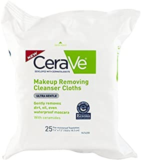 CeraVe Makeup Removing Cleanser Cloths, 25 Count - Buy Packs and SAVE (Pack of 2)