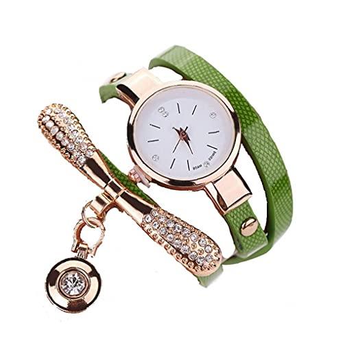 Mujeres Ronda de cuarzo del reloj de la pulsera del reloj analógico con Ultra-delgada de metal Brazalete verde, relojes de la pulsera de los relojes de pulsera de cuarzo reloj de señora