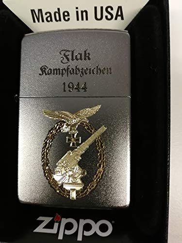 Zippo 18118 Flak Kampfabzeichen 1944-Zippo Feuerzeug Satin Finish-Diamantgravur Bicolor