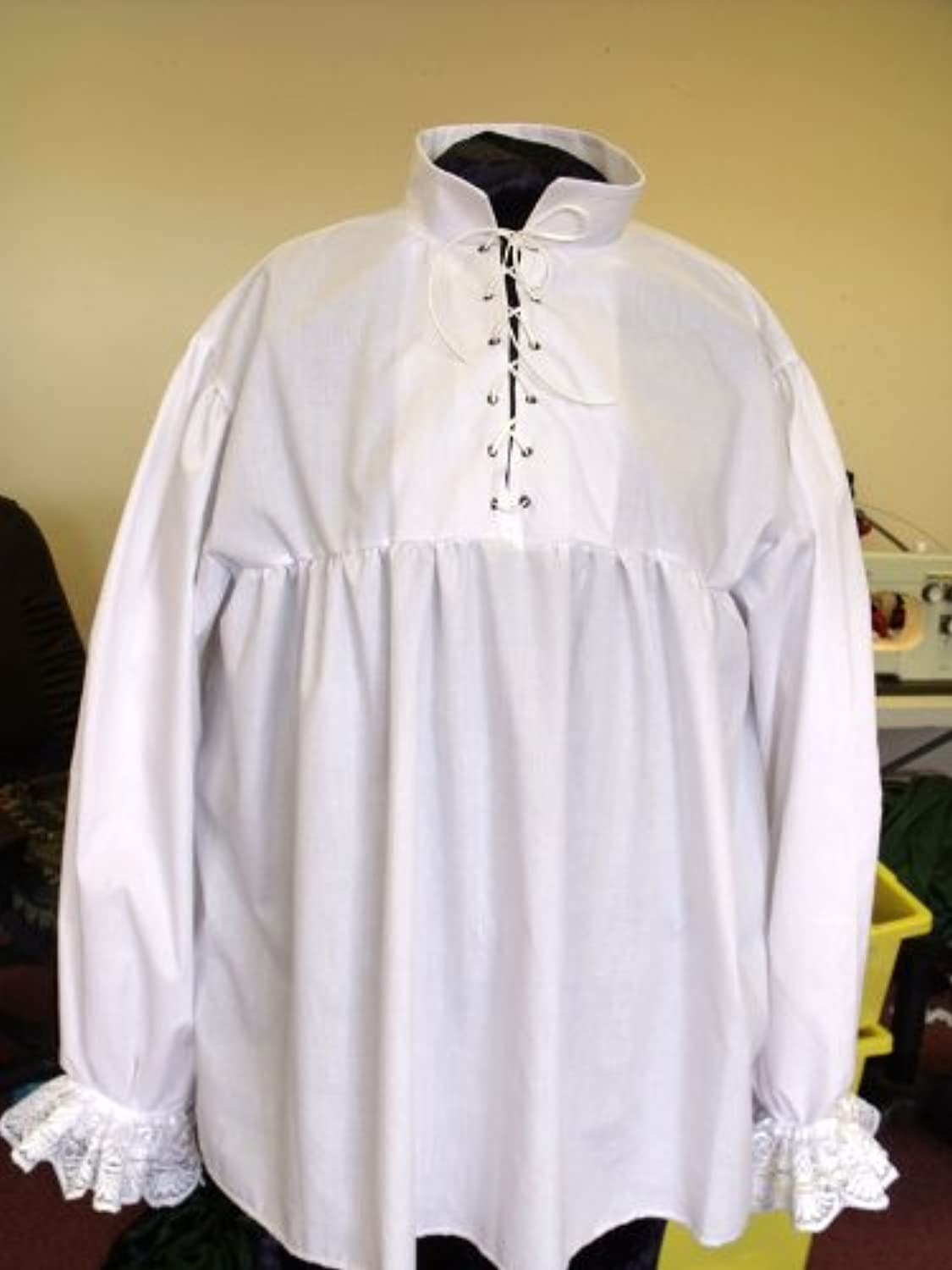XL UK Made Pirate Shirt in White With Laced Yoke. In Poly Cotton