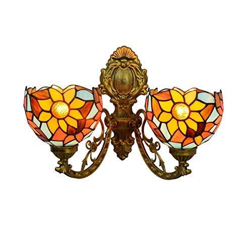 WTTWW Lámpara de Tiffany 6 Pulgadas británica Corredor Creativa Moderna Tiffany Pared Doble Cabeza de la lámpara Sencilla lámpara de Cristal Pastoral Rica Flor vidrieras salón Comedor