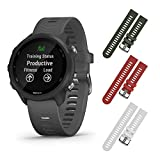 Garmin Forerunner 245 GPS Running Smartwatch with Included Wearable4U 3 Straps Bundle (Slate Grey 010-02120-00, Khaki/Red/White)