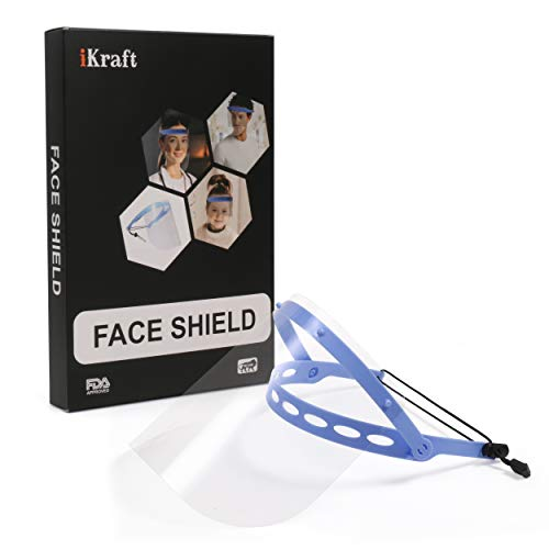 iKraft Adjustable Reusable and Replaceable Safety Face Shield for Protection from infectious droplets 4 x Adjustable Head Bands and 16 x Replaceable Protective Films [ 300 Micron ]