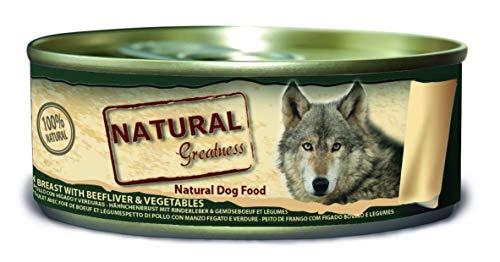 Natural Greatness Comida Húmeda para Perros de Pechuga de Pollo con Hígado y Vedruras. Pack de 24 Unidades. 156 gr Cada Lata