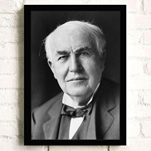 SDFSD Famoso Inventor científico Americano Thomas Alva Edison Retrato HD Picture Poster Dormitorio Decoración para el hogar Arte de la Pared Pintura de la Lona 60 * 100 cm