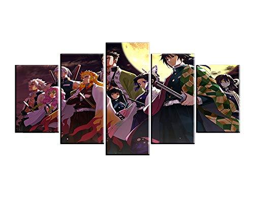 MXYXD Leinwanddrucke,Dämonentöter Kimetsu No Yaiba 5 Stück Anime Wohnzimmer Wandkunst Modular Leinwand Poster Wohnkultur Stil C Mit Rahmen
