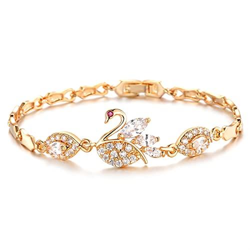 Bianlang Pulsera de Moda Hermoso Diamond-Studded Zircon Cobre Chapado en Oro for Mujer Pulsera de joyería de Micro-Incrustaciones Joyería ( Color : Bracelet )