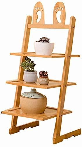 ZFFSC Platforms & Badkamer plank Slaapkamer Storage Rack Office Bestand Plank Multifunctionele Badkamer Vloerstandaard Massief Hout Bloemenstandaard (Capaciteit : 33cm*24cm*63cm, Kleur : Geel)
