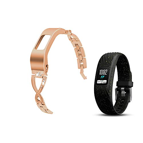 Compatible with Garmin vivofit 4 Bands Women Dressy Jewelry Stainless Steel Accessories Wristband Strap - Rose Gold