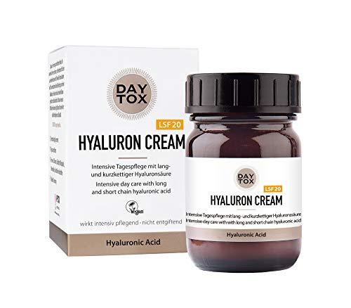 DAYTOX – Hyaluron Cream – Hyaluron Gesichtscreme mit LSF 20 – Vegan, Ohne Silikone, Made in Germany – 50 ml