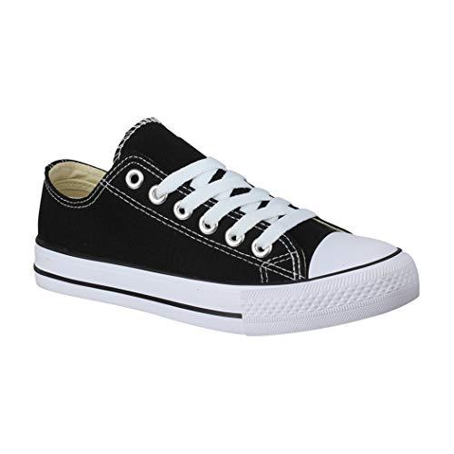 Elara Unisex Sneaker Textil Turnschuh Low top Chunkyrayan 36-46 B-YD3230-Schwarz-43P