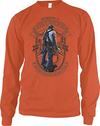 Amdesco Men's Brotherhood of Iron Workers Long Sleeve Shirt, Orange Large