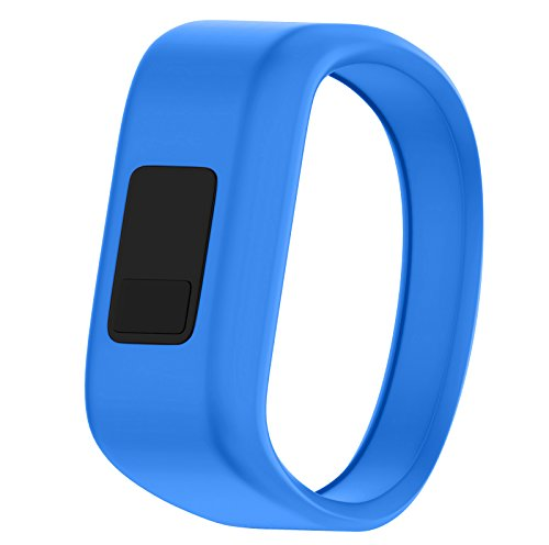 "QGHXO Band for Garmin Vivofit Jr/Vivofit Jr. 2, Soft Silicone Replacement Watch Band Strap for Garmin Vivofit Jr/Vivofit Jr. 2 Activity Tracker, Small, Large (Blue, Large: 6.6"")"