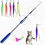 Kiwochy 7PCS Funny cat Stick Interactive Cat Toys Three-Section Telescopic Fishing Rod Interactive...