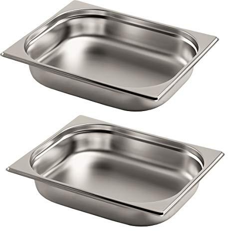Gastro-Bedarf-Gutheil 2 x Gastronormbehälter GN Behälter 1/2 65 mm tief stapelbar Edelstahl geeignet für Chafing Dish, Bain Marie, Saladette