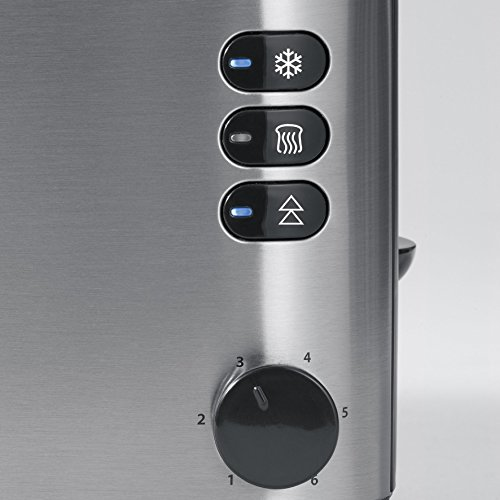 SEVERIN Grille-Pain Automatique, 2 Fentes Longues, Jusqu'à 4 Tranches, 1 400 W, AT 2509, Inox/Noir