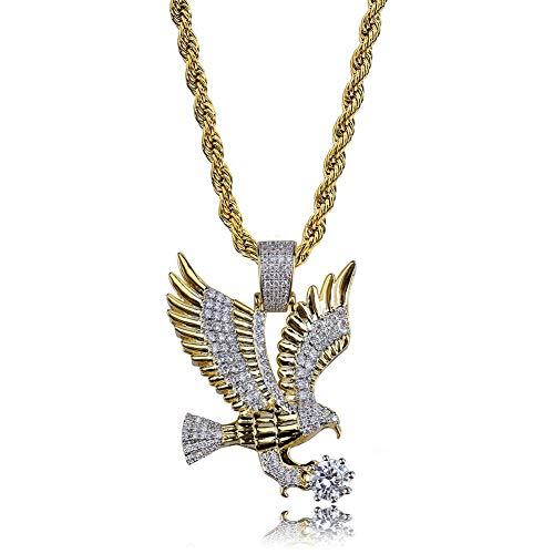 Hip Hop Adler Anhänger Halskette, Mikro eingelegten Zirkon Halskette Anhänger Zubehör Halskette Geschenk Schmuck
