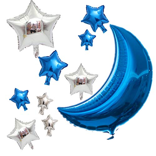Aluminum Film Balloon Combination Of Stars And Moon Represents Wishes Blessings,Birthday Party Decoration Balloon Baby Birthday Shower Wedding Anniversary Balloon Themed Party Bedroom Decoration