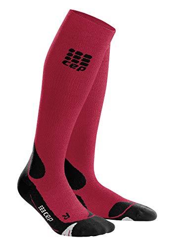 CEP – Hiking Merino Socks für Damen   Wandersocken aus Merinowolle mit Kompression in dunkelrot/schwarz   Größe III
