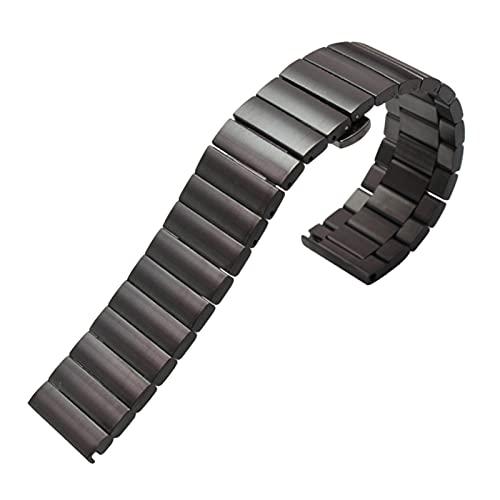 YANYAN MAYALI Pulsera de la Banda de Reloj de Acero Inoxidable sólido 16 mm 18 mm 20 mm 22 mm de Plata con Cepillado Negro Cepillado Correa Correa (Band Color : B, Band Width : 22mm)
